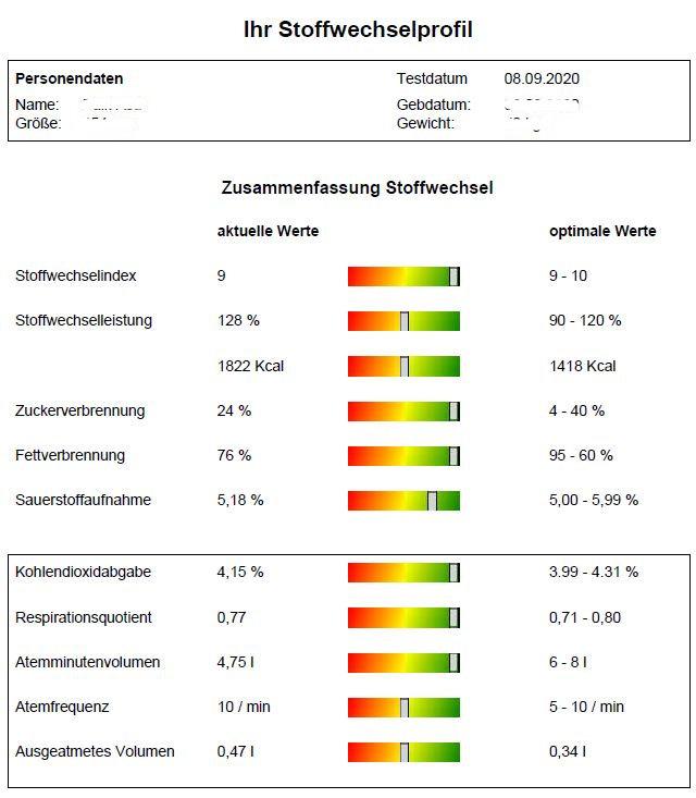 Stoffwechsel Messung Ruhe Profil