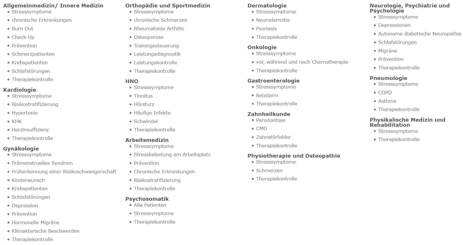 Anwendung medizinische Fachgebiete